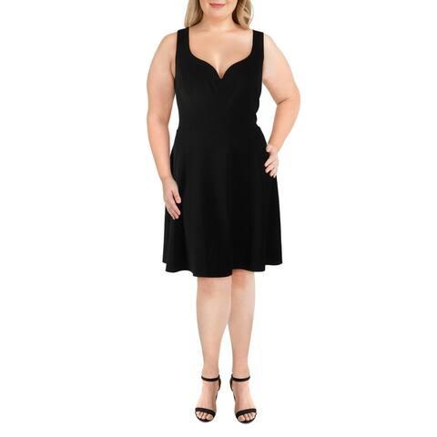 B. Darlin Womens Plus Fit & Flare Dress Open Back Sweetheart Neck - Black