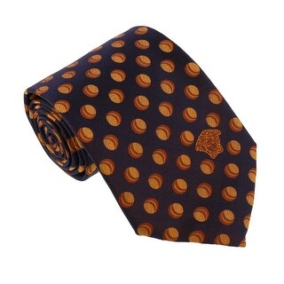 Versace Navy Blue/Orange Woven Decorative Circle Tie