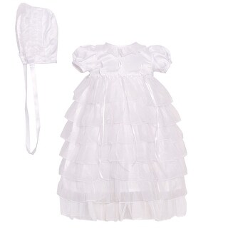 The Children's Hour Baby Girls White Tiered Christening Bonnet Dress