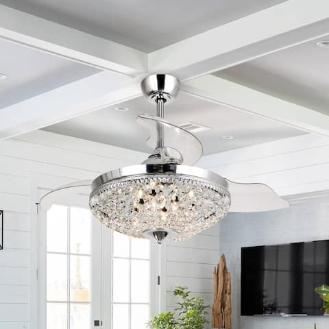 Chrome 42-inch Crystal Ceiling Fan with Remote 6-Light Chandelier