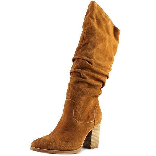 Nine West Abee Women Pointed Toe Suede Tan Knee High Boot