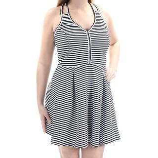 MATERIAL GIRL $59 Womens New 1016 Black Ivory Striped A-Line Dress L Juniors B+B
