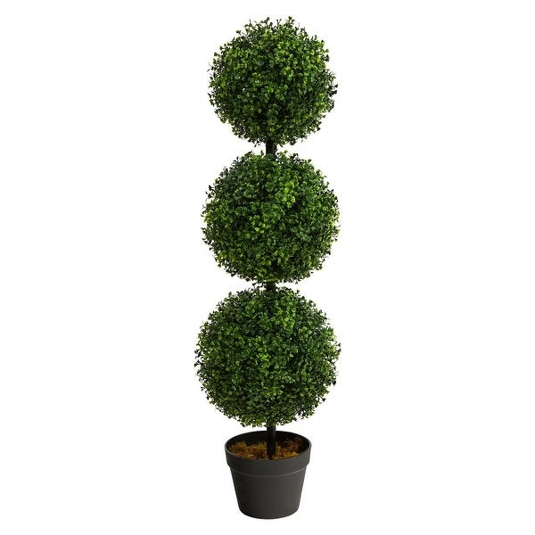 """3' Boxwood Triple Ball Artificial Topiary UV - 6"""". Opens flyout."""