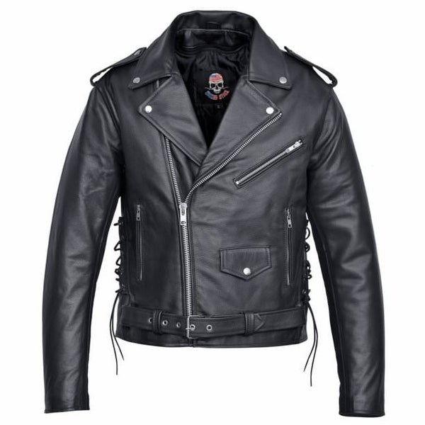 55527b6ed91d Men  x27 s Motorcycle Biker Leather Jacket Classic Design Black MBJ19