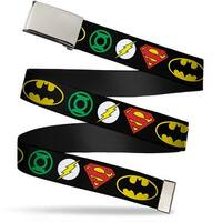 Blank Chrome Buckle Justice League Superhero Logos Webbing Web Belt