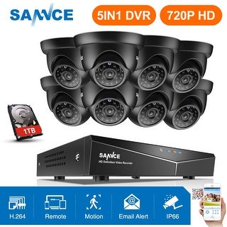SANNCE 8CH 720P Video Surveillance Cameras System 1TB HD Wired