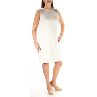 TAHARI Womens White Sleeveless Above The Knee Dress  Size 10