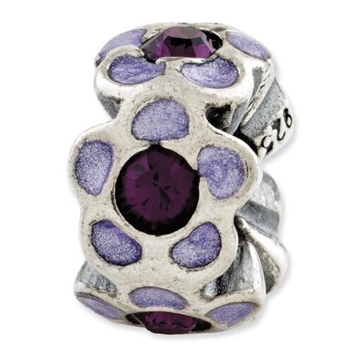 Italian Sterling Silver Reflections Purple Swarovski Elements Enamel Bead