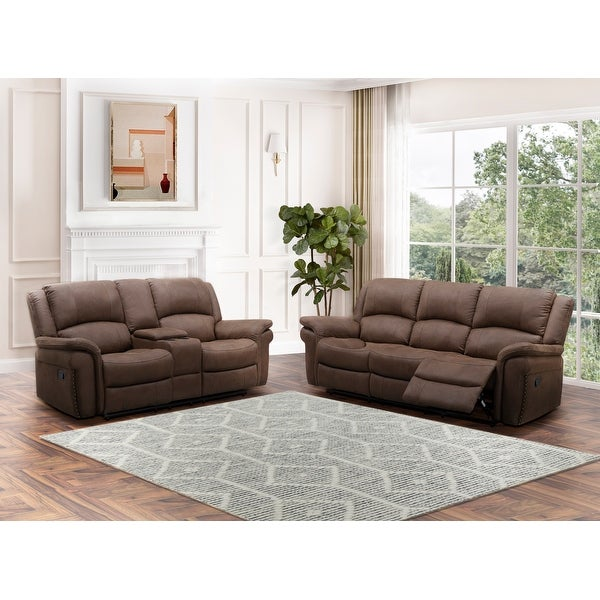 Abbyson Thompson Fabric Manual Reclining Sofa and Loveseat Set. Opens flyout.