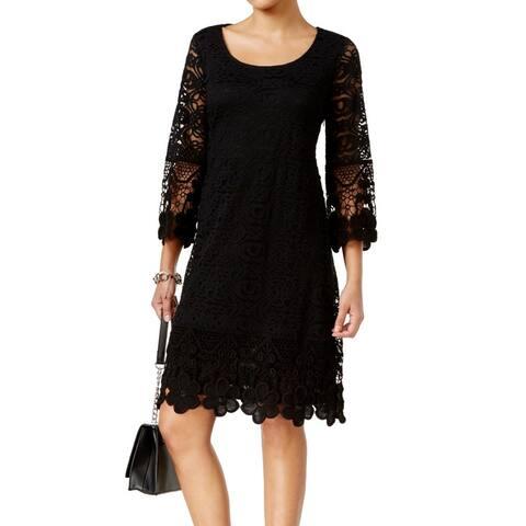 Alfani Women's Dress Black Size Large L Shift Crochet Trim Illusion