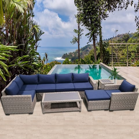 Patio8 Outdoor Sectional 9pcs Gray Wicker Patio Casual Furniture Set