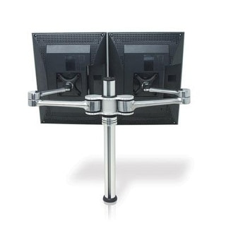 Atdec Vf-At-D Dual Display Desk Mount (Up To 27 And 17.6Lbs Displays) With Two Mounting Options, Brushed Aluminum