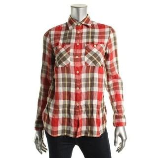 Denim & Supply Ralph Lauren Womens Sapa Button-Down Top Linen Plaid