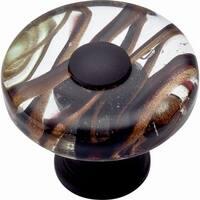 Atlas Homewares 3206 Glass 1-1/2 Inch Diameter Mushroom Cabinet Knob - Oil Rubbed bronze