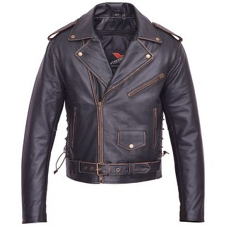 Men Motorcycle Leather Jacket American Eagle Live to Ride MBJ033