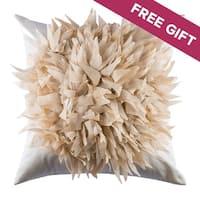 Textured Floral Boho Cream Decorative Handmade Throw Pillow Cover, 18x18