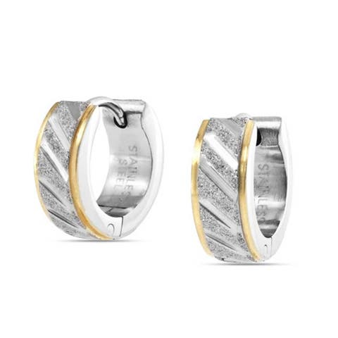 Golden Rose Silver Tone Two Tone Stainless Steel Carved Stardust Matte Wide Hoop Hoop Earrings For Men For Women