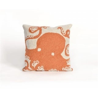 TransOceanImports 7FP8S143217 Frontporch Octopus Coral Square Pillow