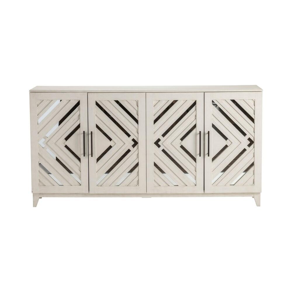 Phoebe 72″W Whitewashed Acacia Wood and Mirrored Sideboard
