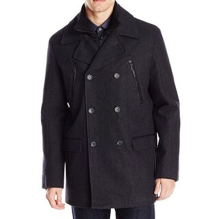 Calvin Klein NEW Gray Mens Size Large L Zip-Pockets Peacoat Wool Coat