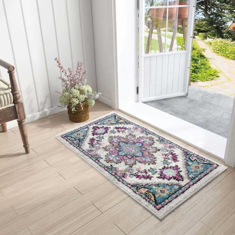 Oriental Blue/Multicolor Medallion Area Rug