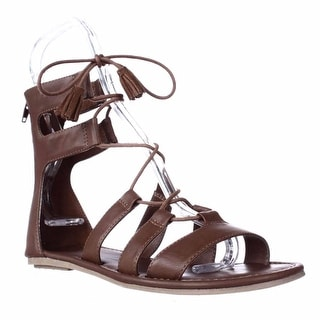 MIA Ozie Tassel Lace Up Gladiator Sandals - Luggage