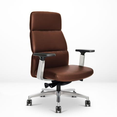 Via Seating Vero Executive High Back Work Chair for Home Office, Genuine Italian Leather Upholstery, Polished Aluminum Finish