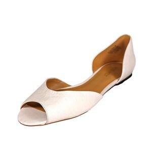 Nine West Byteme Women Open-Toe Leather White Flats