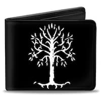 The Lord Of The Rings White Tree Of Gondor + Logo Black White Gold Bi Fold Bi-Fold Wallet - One Size Fits most