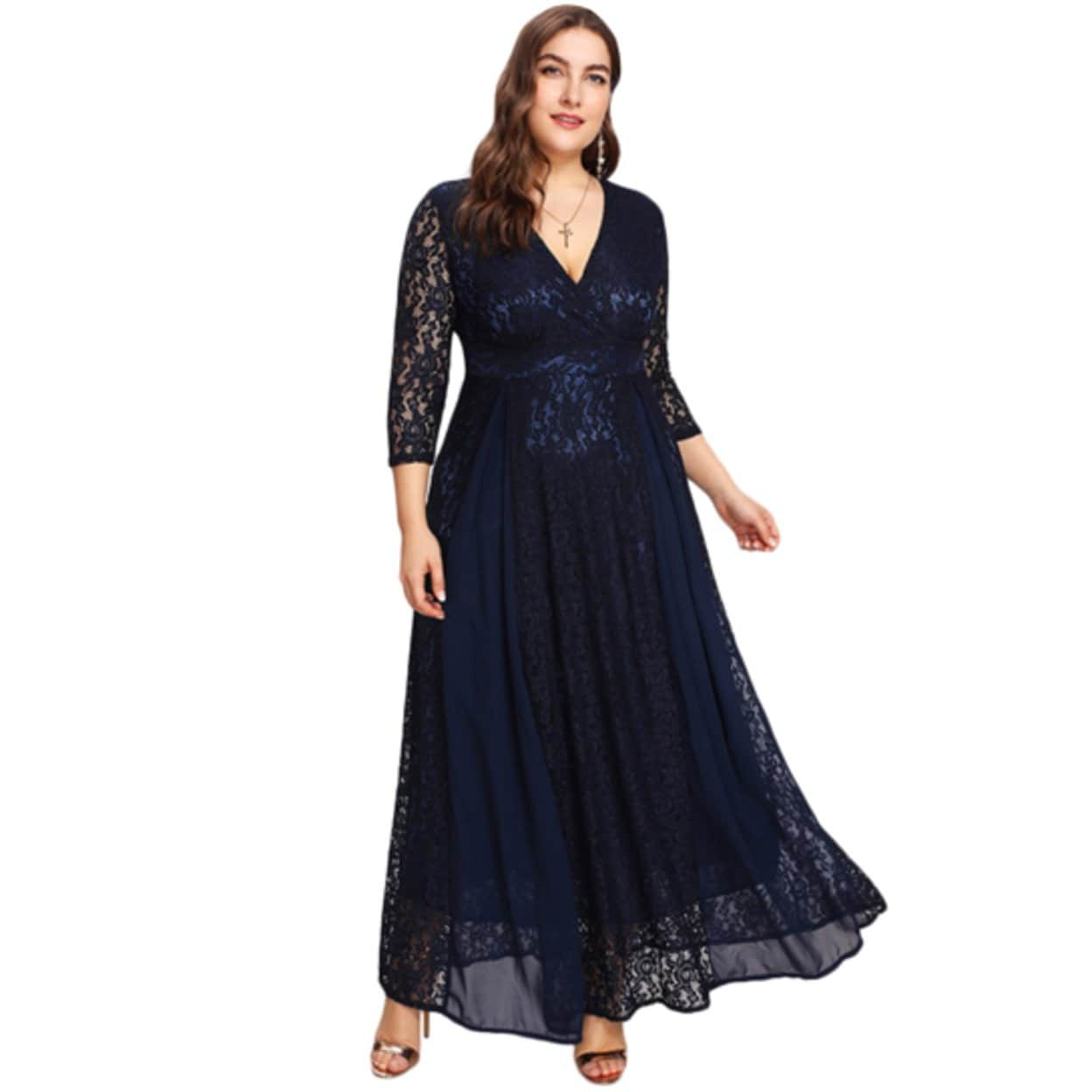 Women\'s Plus Size High Waist Lace Overlay Evening Maxi Dress