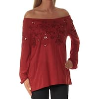 Womens Red Long Sleeve Off Shoulder Casual Top  Size  XS