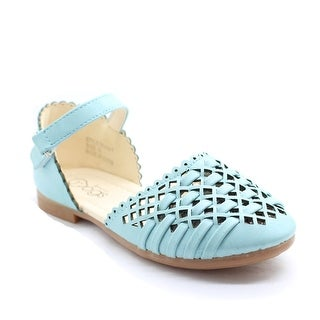 Little Girls Baby Blue Cut-Out Woven Ankle Strap Dress Shoes