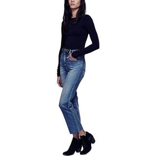 Free People Womens Bootcut Jeans Cropped Frayed Hem