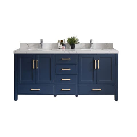 Willow Collections 60 x 22 Malibu Double Bowl Sink Bathroom Vanity with 2 in Quartz