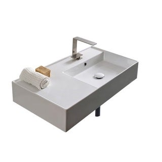 "Nameeks Scarabeo 5118  Scarabeo Teorema 2.0 32"" Rectangular Ceramic Vessel or Wall Mounted Bathroom Sink with Overflow"
