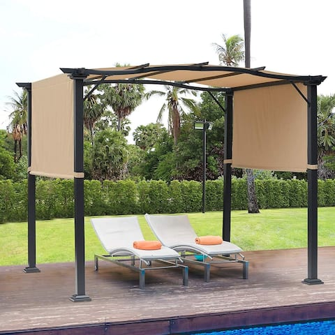 Outsunny 16.5' Steel Frame Polyester Fabric Gazebo with Retractable Canopy Shade Awning
