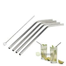 4-Pack Eco-Friendly Stainless Steel Straw Set With Cleaning Brush