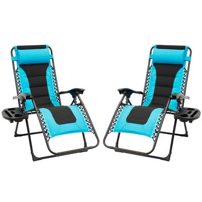2pc Padded Zero Gravity Chair Set with Leg Stabilizers and Big Cupholder - Turquoise & Black
