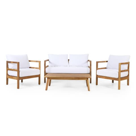Ellendale Outdoor Acacia Wood Outdoor 4 Seater Chat Set with Cushion by Christopher Knight Home