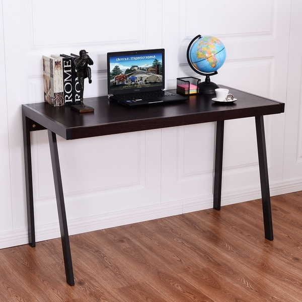 Shop Costway Wood Top Computer Desk Pc Laptop Table Workstation Metal Frame Home Office
