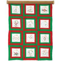 "Ornaments - Themed Stamped White Quilt Blocks 9""X9"" 12/Pkg"