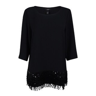 Alfani Women's 3/4 Sleeve Sequin Fringe Top - Deep Black