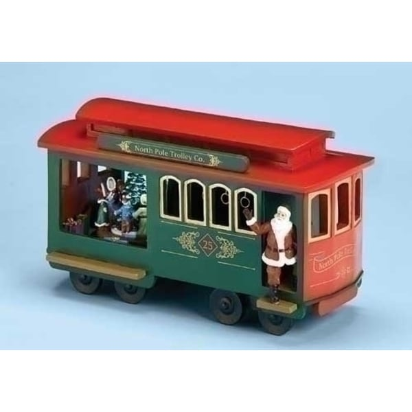 "11.25"" Musical Lighted North Pole Trolley Cart with Santa Claus Christmas Decoration"