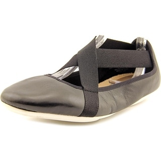 Easy Spirit e360 Yandra Women Round Toe Leather Black Ballet Flats