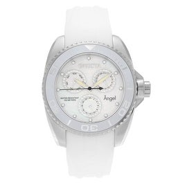 Invicta Women's 'Angel' 21701 Stainless Steel Cubic Zirconia Silicone Strap Watch