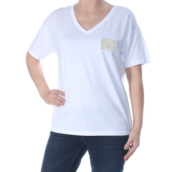 4af6da9b88b Shop RALPH LAUREN Womens White Embroidered Gold Rl 3/4 Sleeve V Neck T-Shirt  Top Size: XS - Free Shipping On Orders Over $45 - Overstock - 28145786