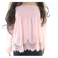 Moa Moa Pink Womens Size XS Off-Shoulder Lace-Trim Smocked Blouse