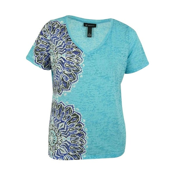 INC International Concepts Women's Embellished V-Neck Tee - Bachelor Button - PXS