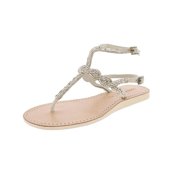 Cocobelle Womens Flat Sandals Beaded T-Strap - 7.5 medium (b,m)