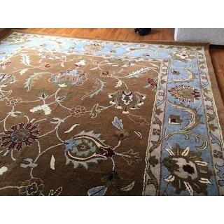 "Safavieh Handmade Heritage Loren Traditional Brown/ Blue Wool Rug - 8'3"" x 11'"